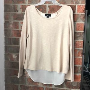BCX Beige Twofer Top with Sheer White Panel - NWOT